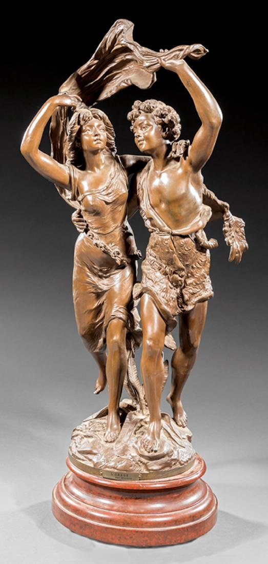 Bronze Figural Group of a Young Man and Woman
