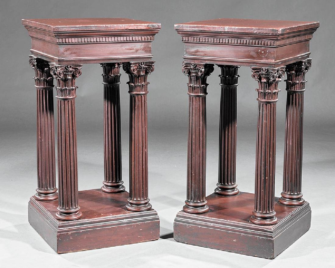Two Carved Mahogany Pedestals