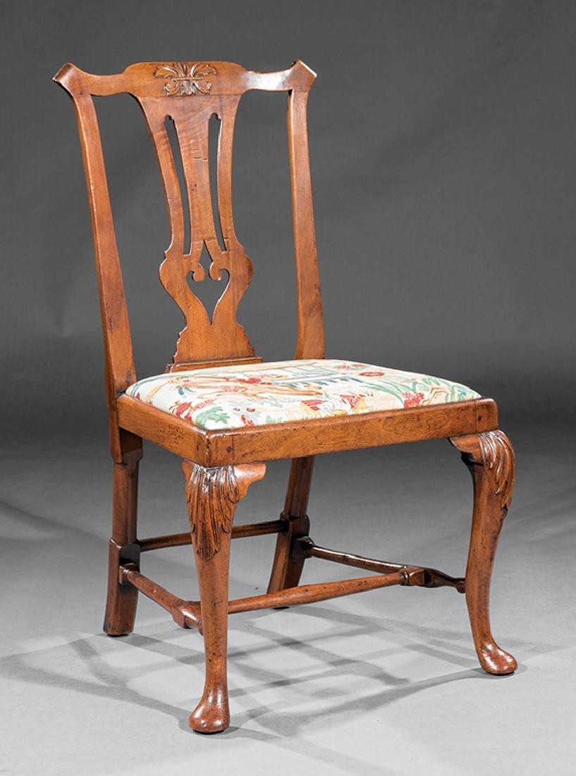 George III Carved Walnut Side Chair