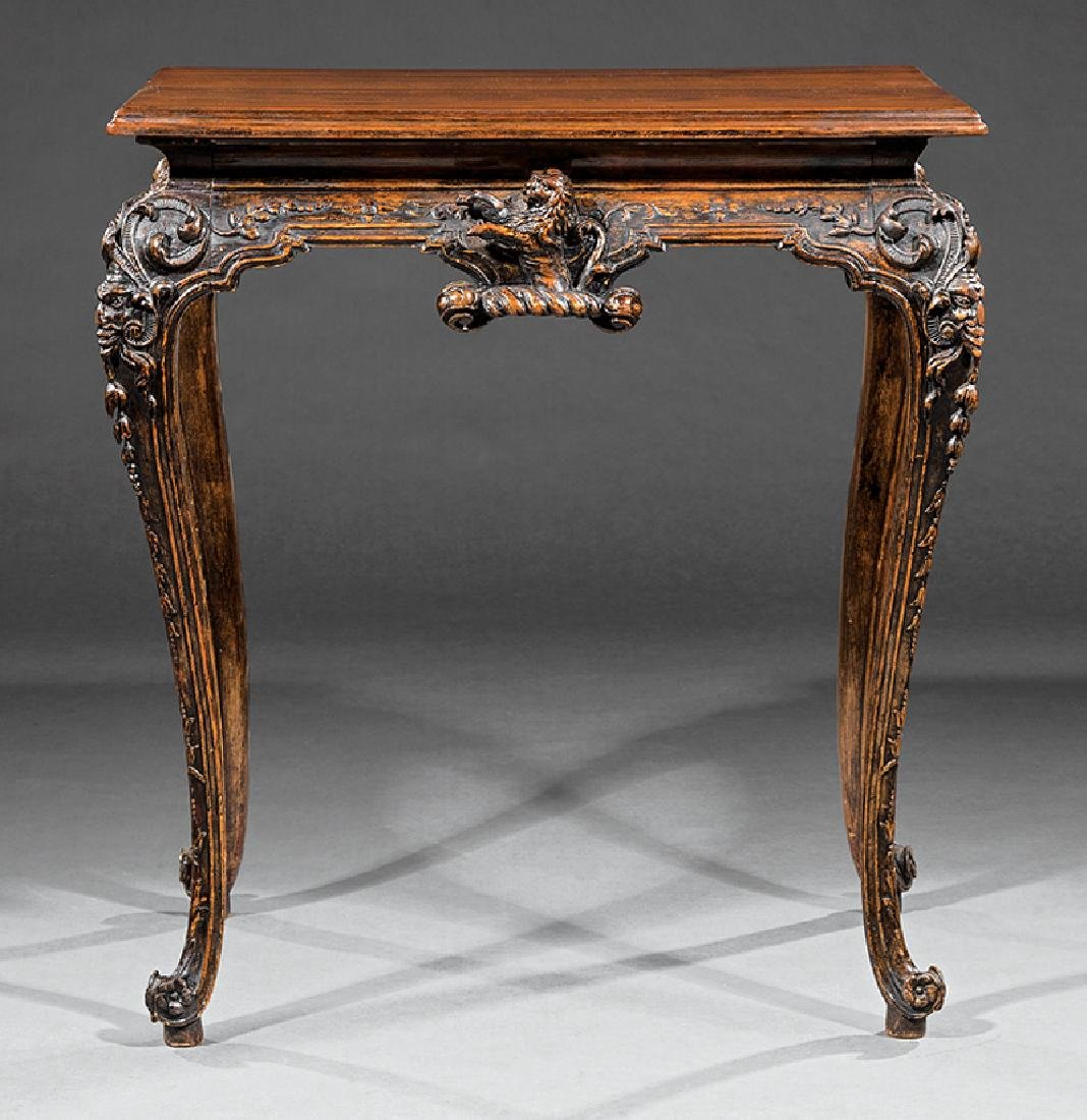 Carved Walnut Console Table - 2