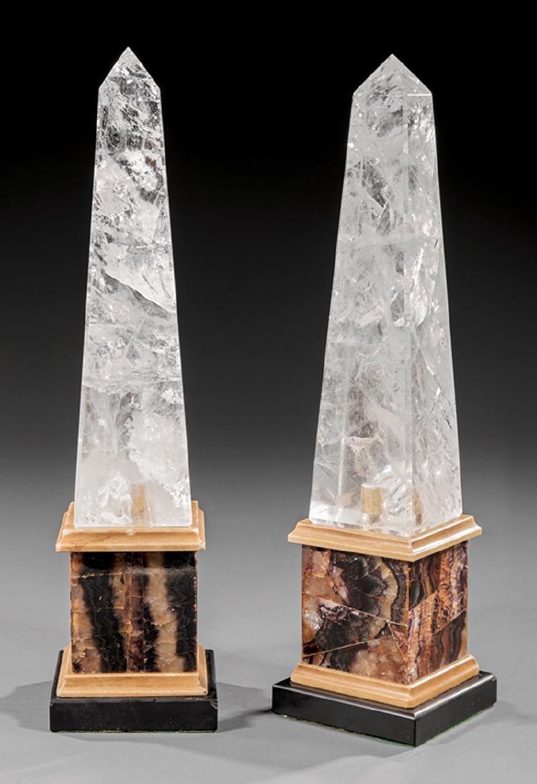 Pair of Blue John and Rock Crystal Obelisks