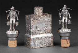 Pair of German Silverplate Figural Bottle Stoppers