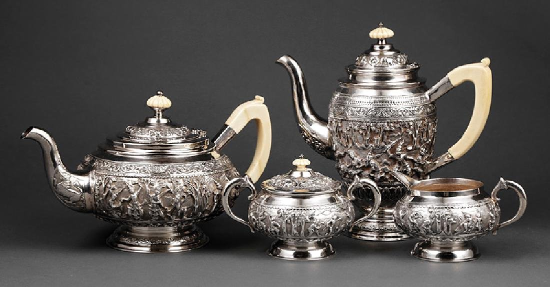 Burmese Silver Repousse Coffee and Tea Service