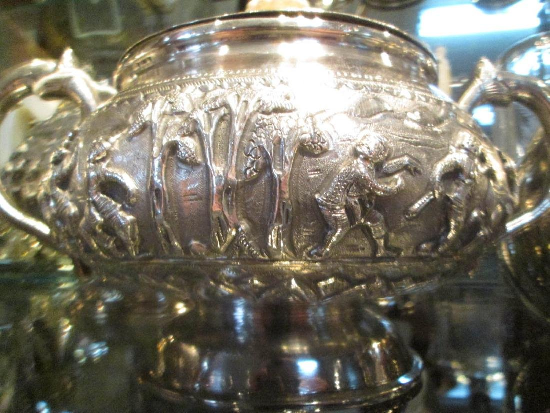 Burmese Silver Repousse Coffee and Tea Service - 4