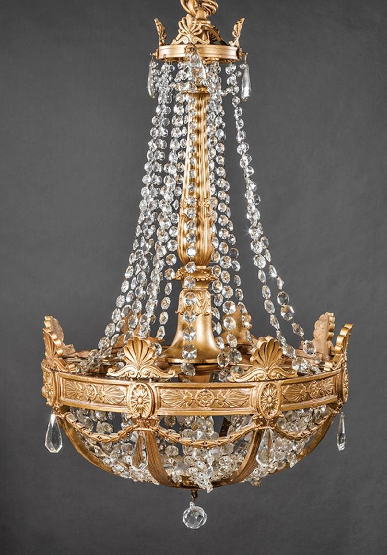 Empire-Style Giltwood and Cut Glass Chandeliers