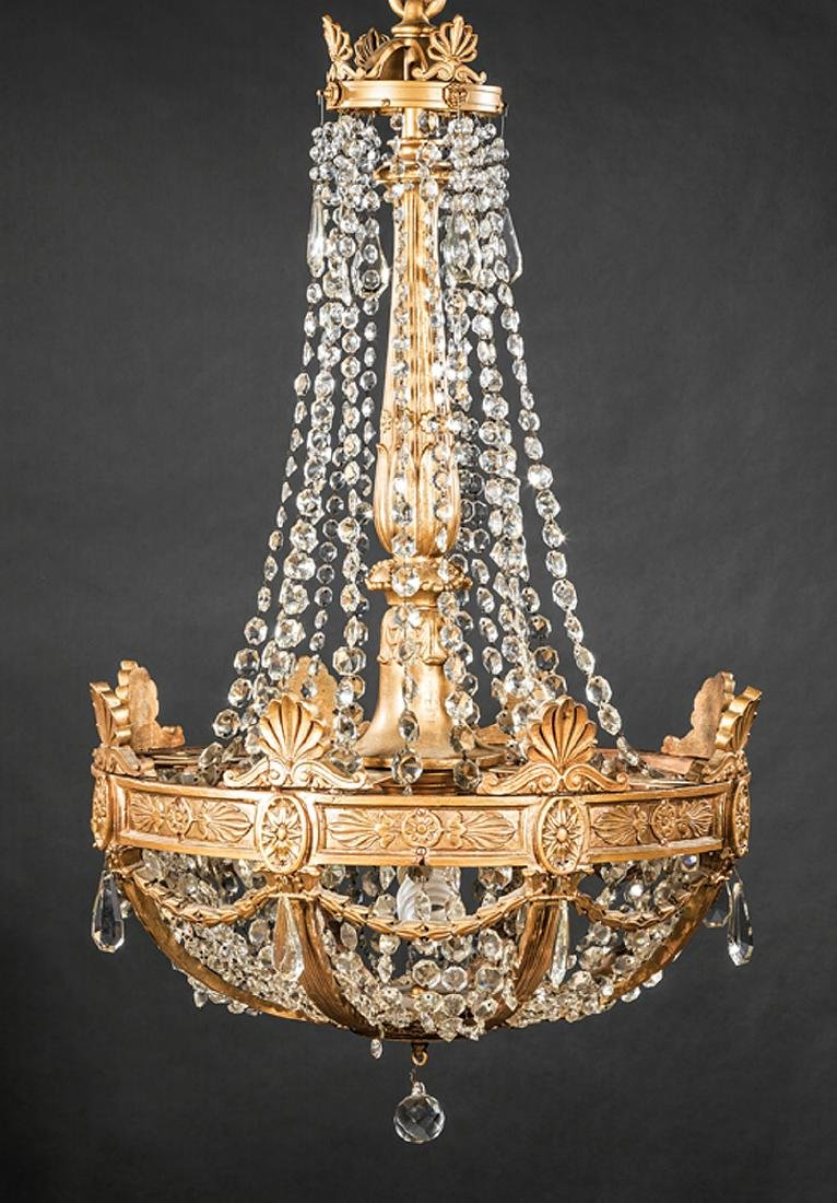 Empire-Style Giltwood and Cut Glass Chandeliers - 2