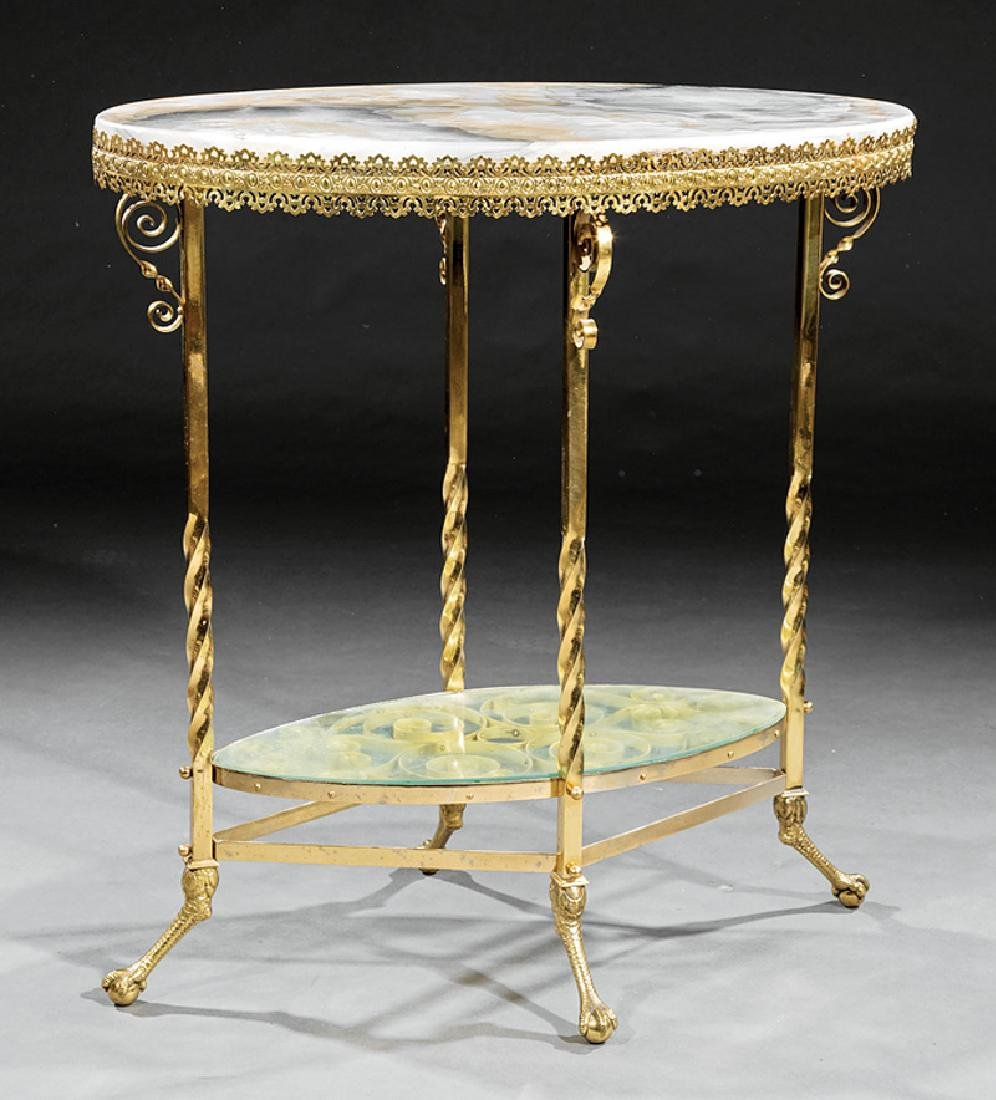 American Aesthetic Alabaster and Gilt Brass Table