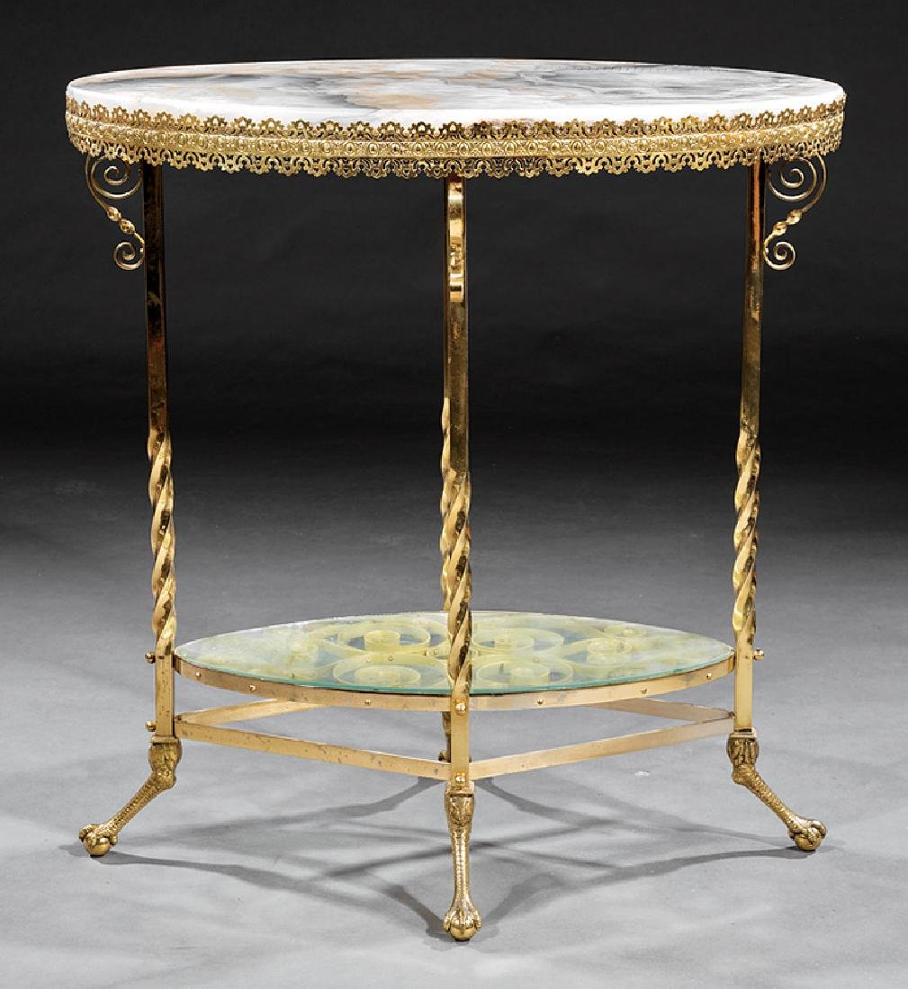 American Aesthetic Alabaster and Gilt Brass Table - 2