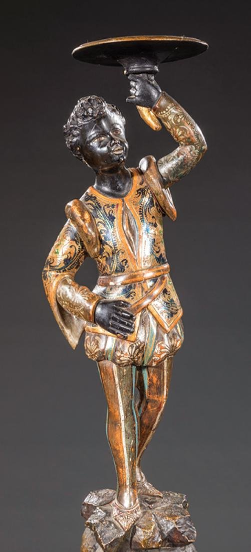Polychrome and Gilt-Decorated Blackamoor - 2