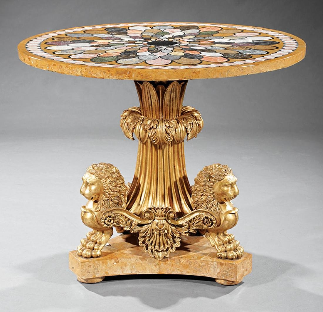 Giltwood and Specimen Marble Center Table