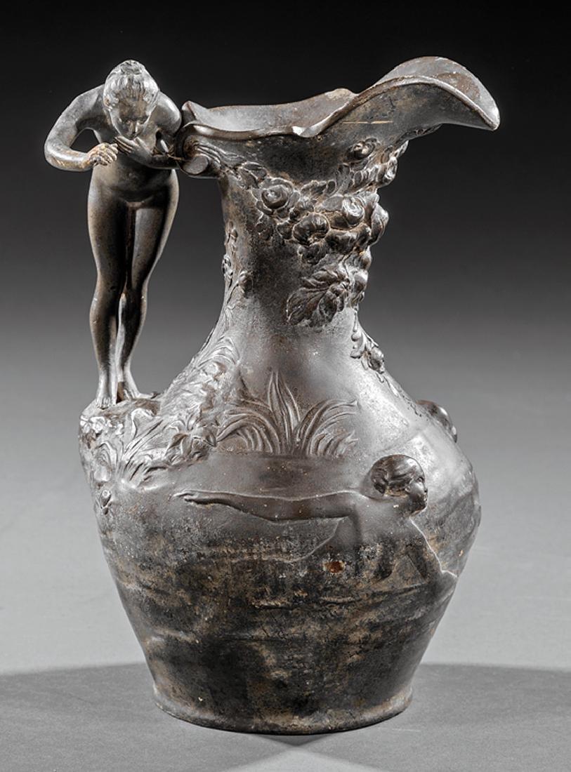 Art Nouveau Patinated Metal Ewer