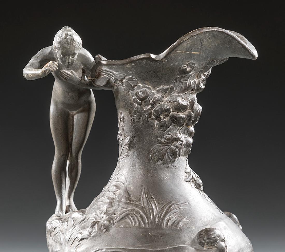 Art Nouveau Patinated Metal Ewer - 2