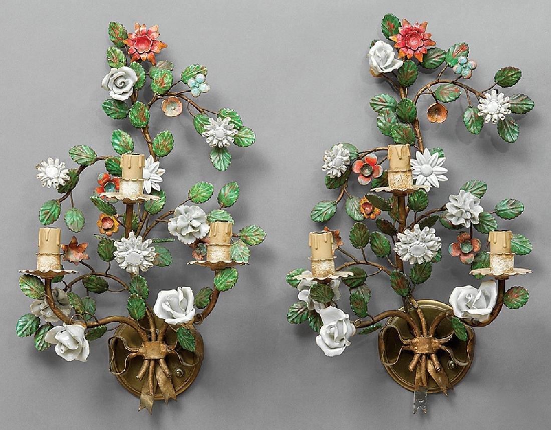 Tole Peinte and Porcelain-Mounted Sconces