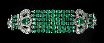 Art Deco-Style Emerald and Diamond Bracelet