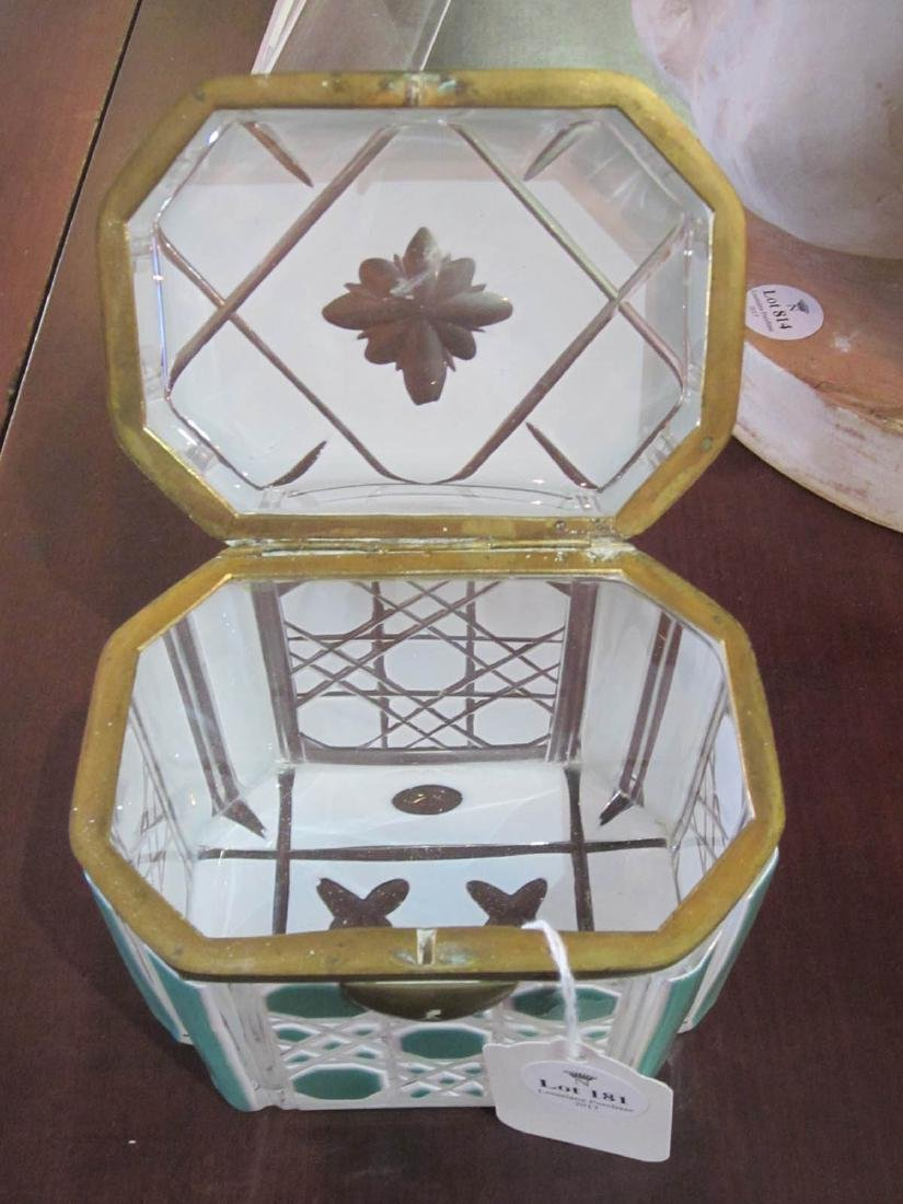 Bohemian White and Green Cut-to-Clear Glass Box - 4