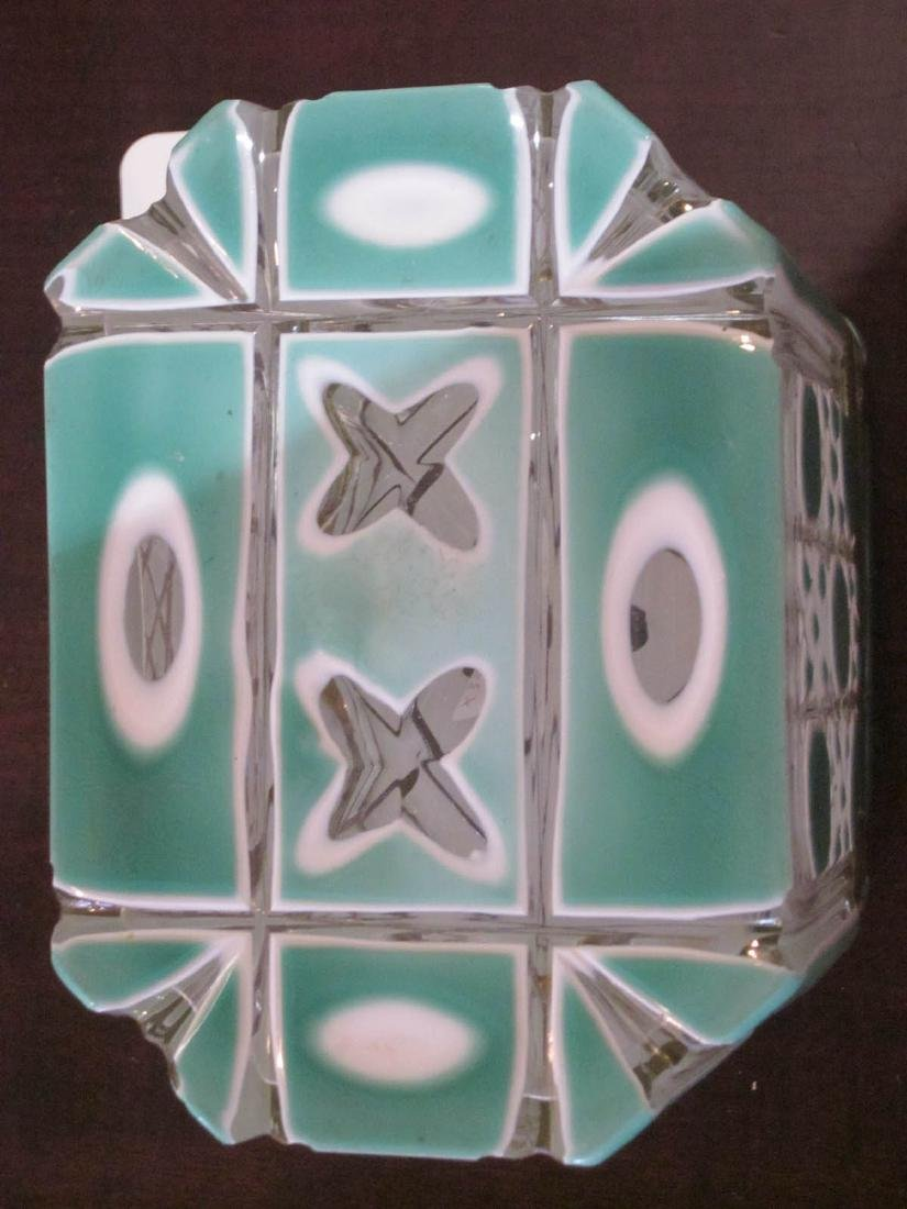 Bohemian White and Green Cut-to-Clear Glass Box - 6