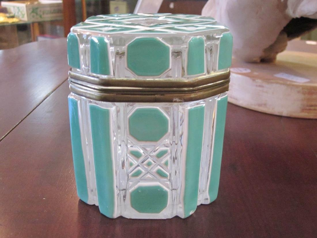 Bohemian White and Green Cut-to-Clear Glass Box - 7