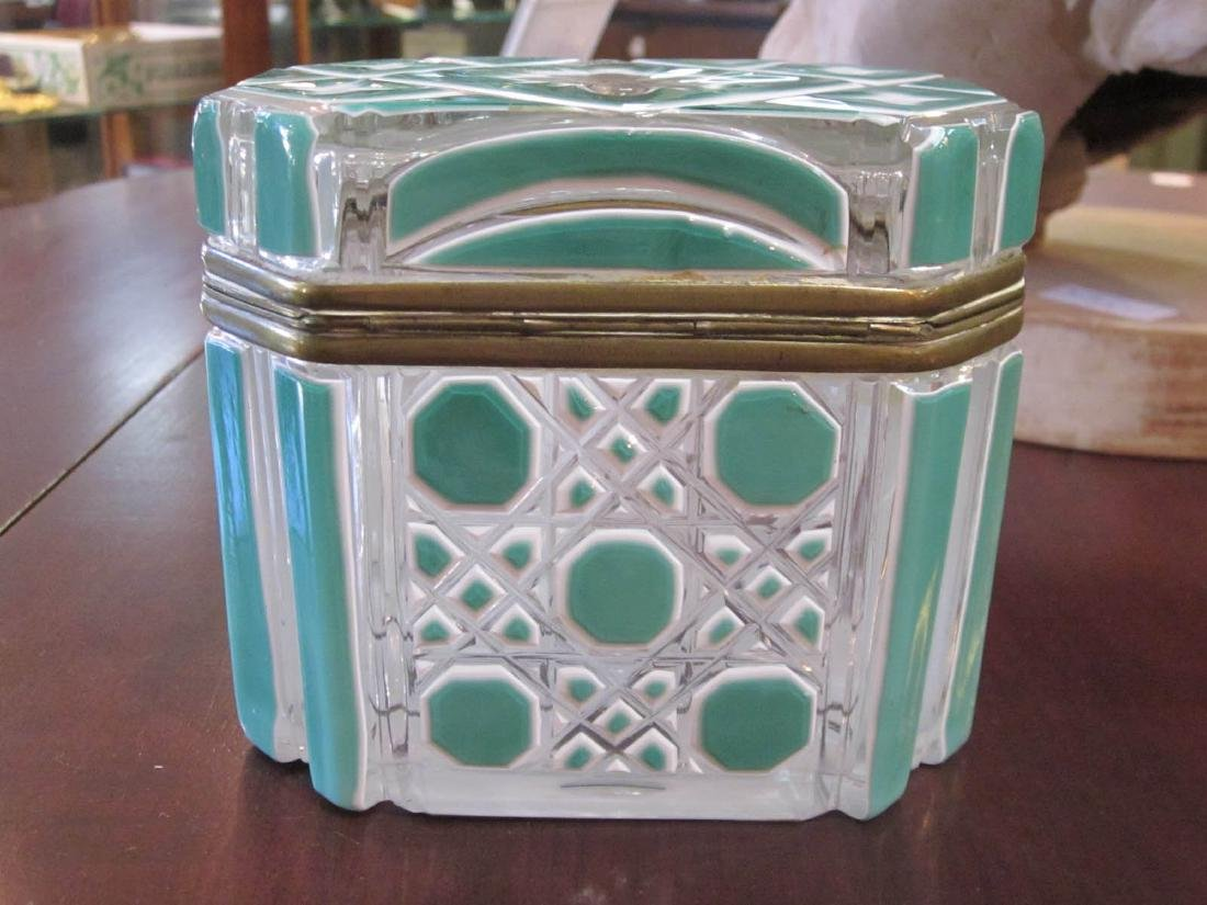 Bohemian White and Green Cut-to-Clear Glass Box - 8