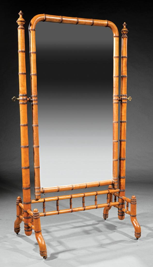 Aesthetic Maple Faux Bamboo Cheval Mirror