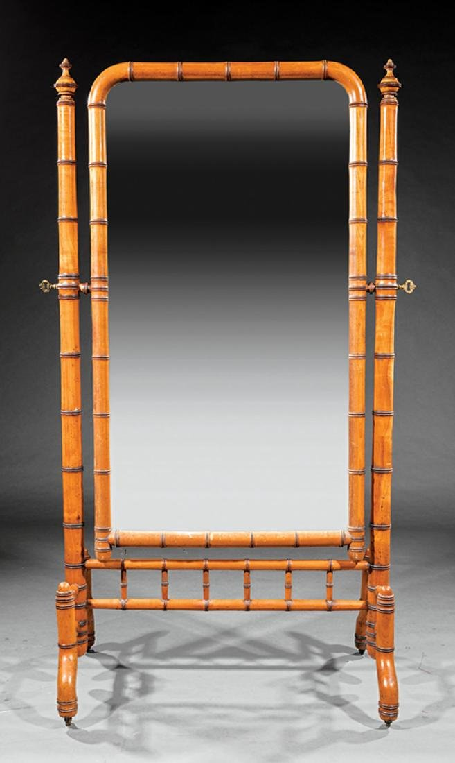 Aesthetic Maple Faux Bamboo Cheval Mirror - 2