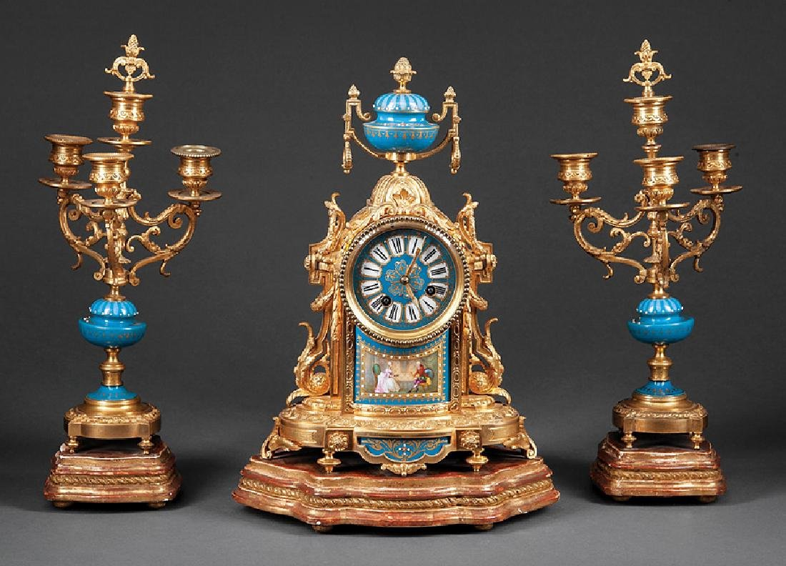 French Gilt Bronze and Porcelain Clock Garniture