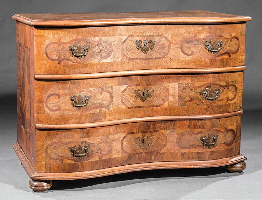 Inlaid Carved and Burled Walnunt Chest of Drawers