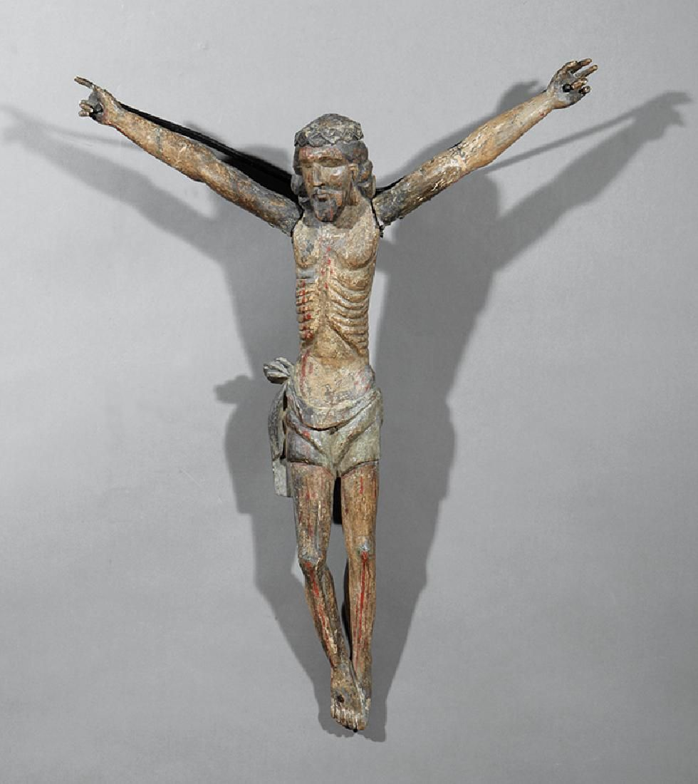 Spanish Colonial Wood Figures of Christ Crucified