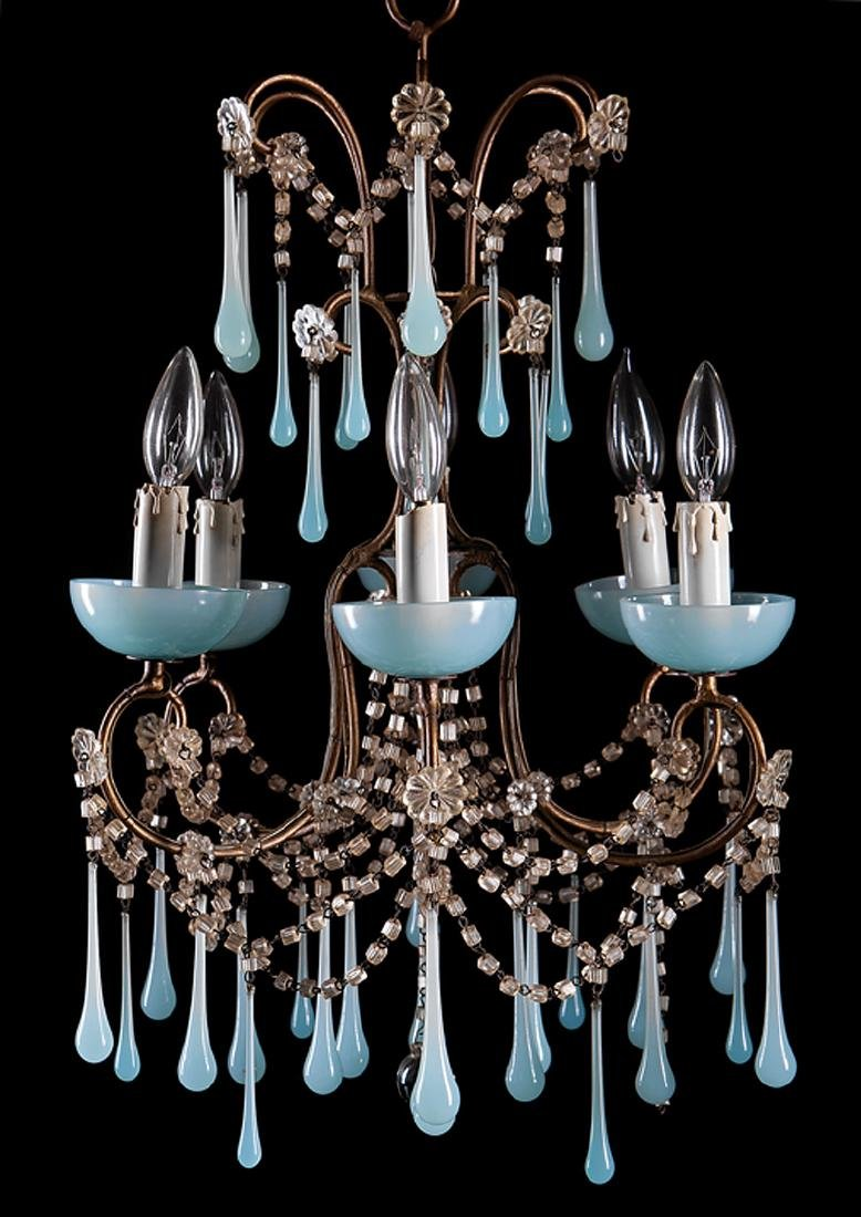 French Gilt Metal, Blue Opaline Glass Chandelier