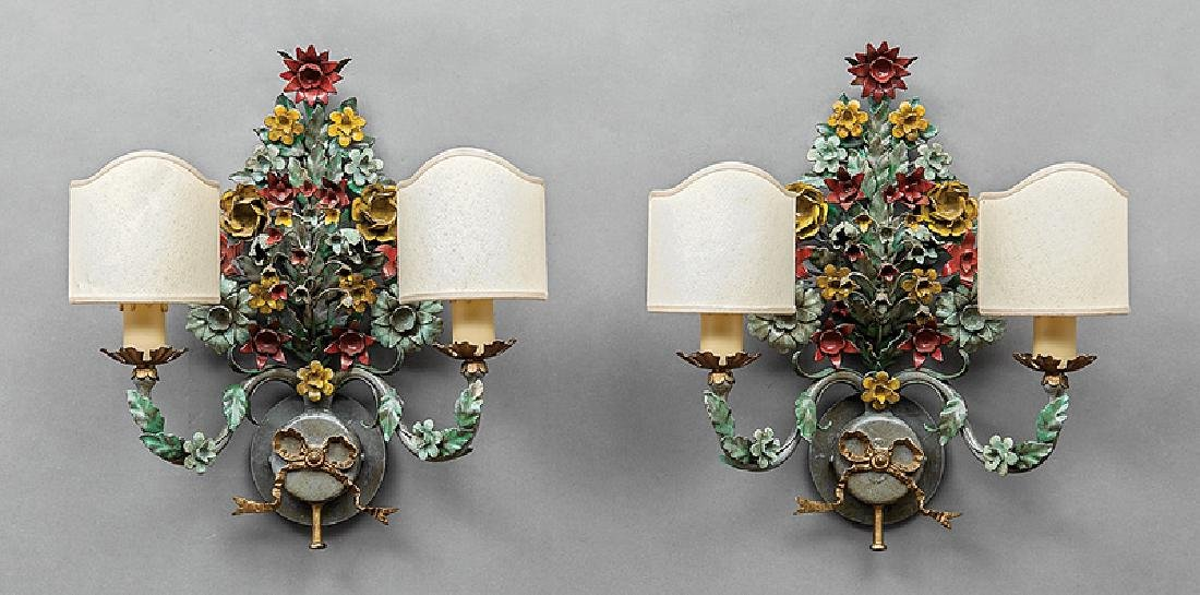Italian Polychromed Metal Two-Light Sconces