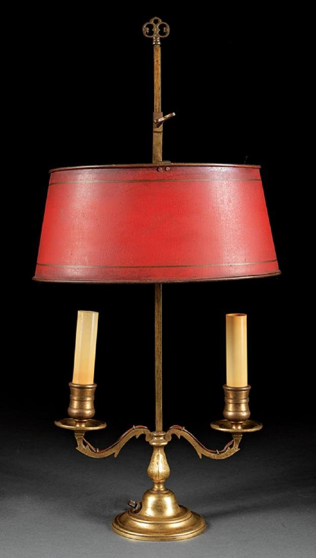 Bronze and Tole Peinte Bouillotte Lamp