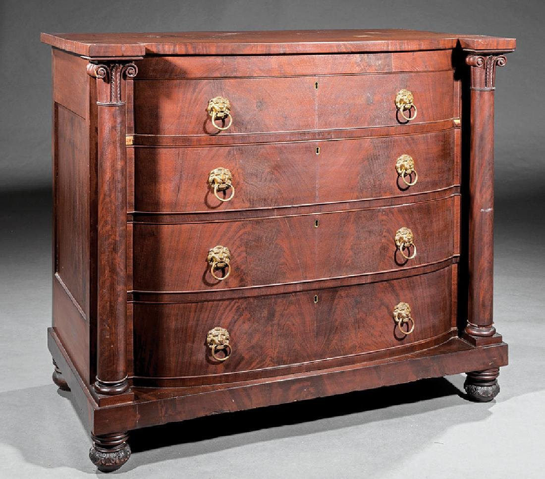 American Classical Carved Mahogany Bowfront Chest