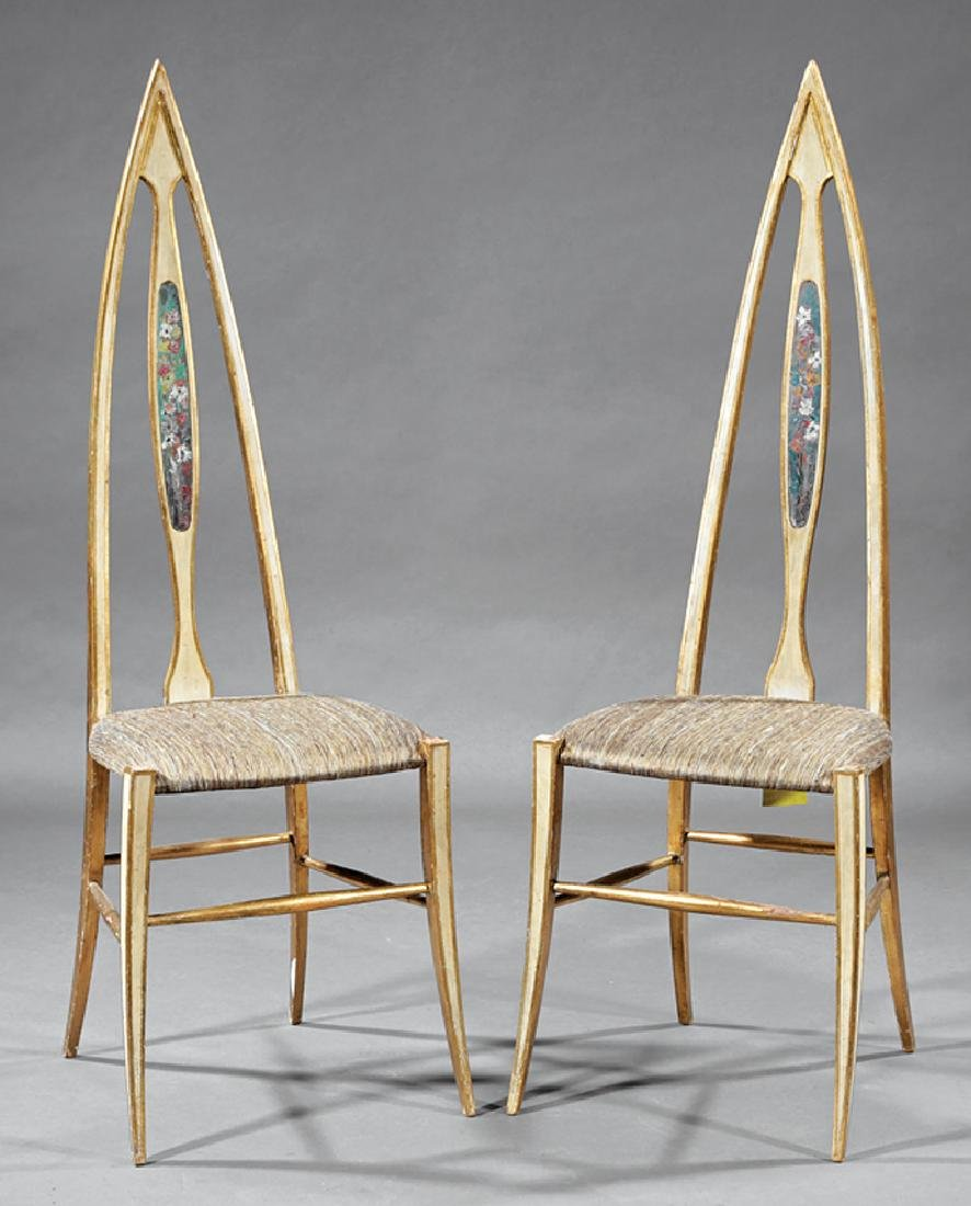 Innovative Italian Painted and Gilt Side Chairs