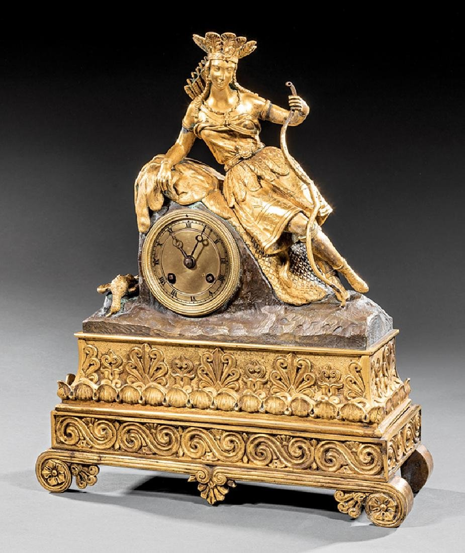 Gilt and Patinated Bronze Figural Clock