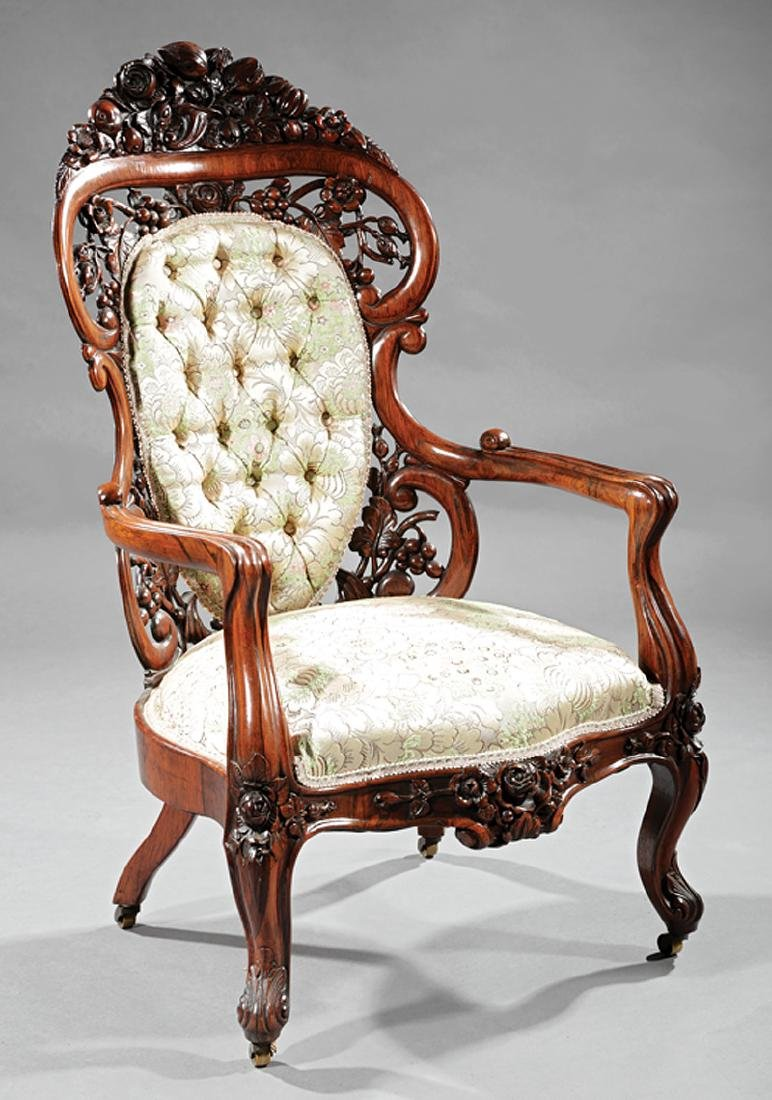 Rosewood Library Armchair attr. to Belter