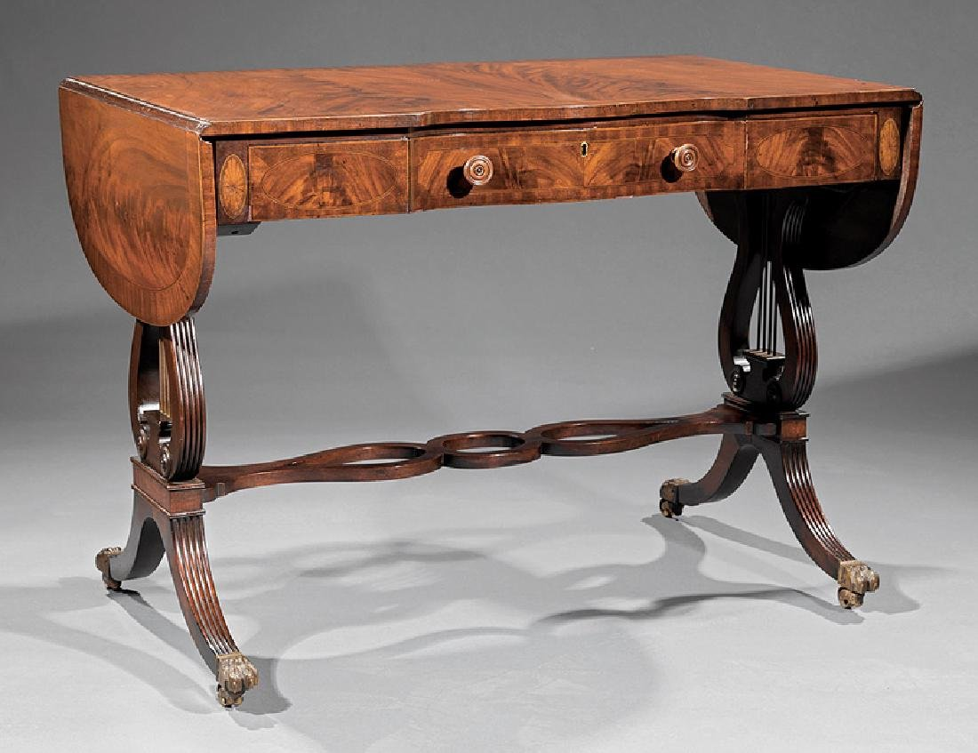 Classical Carved and Inlaid Mahogany Sofa Table
