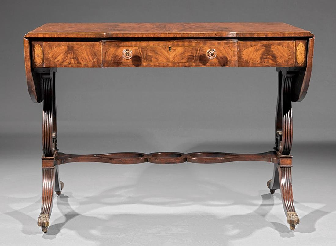 Classical Carved and Inlaid Mahogany Sofa Table - 3
