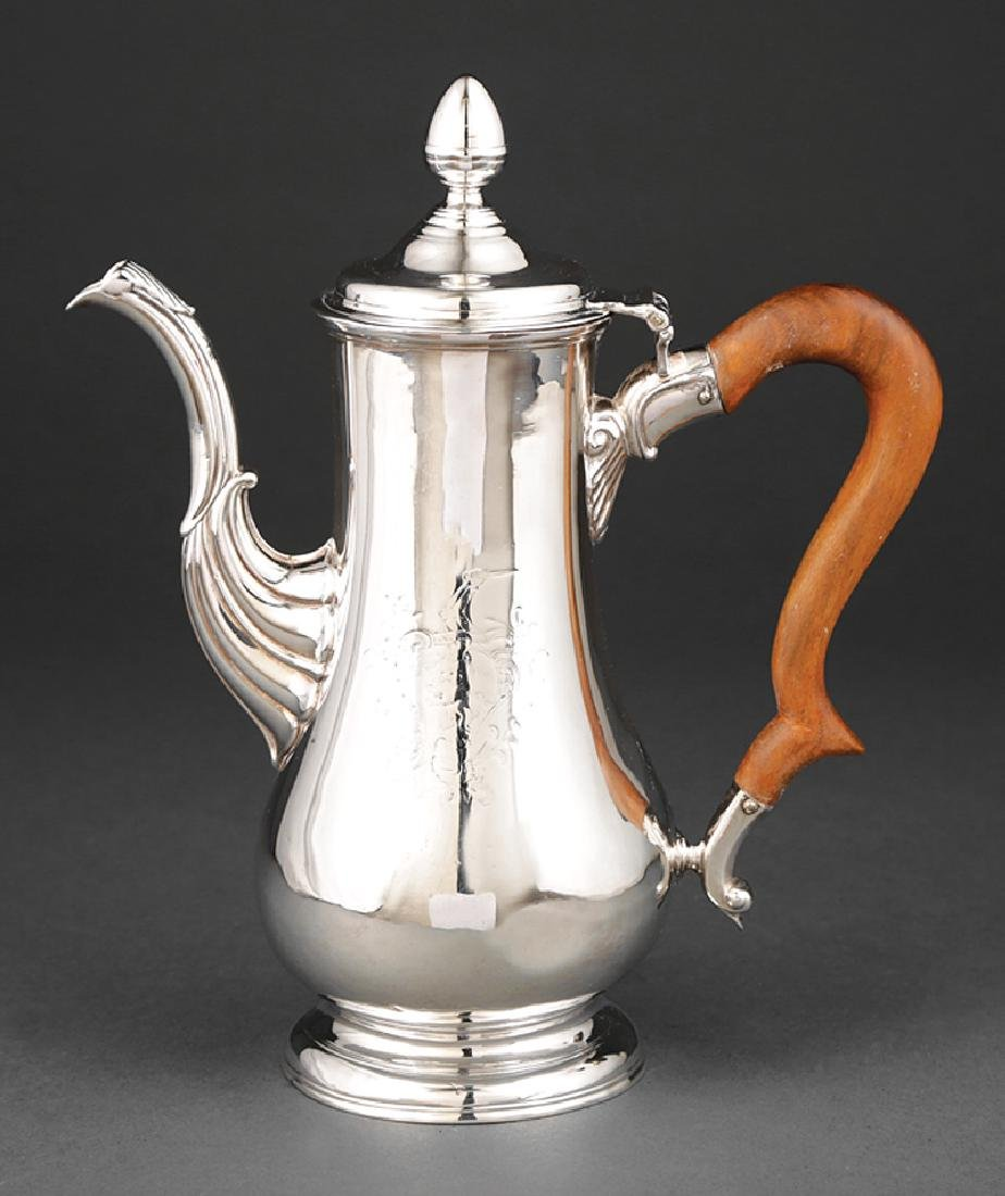 Colonial Silver Coffee Pot attr. Richard Pitts