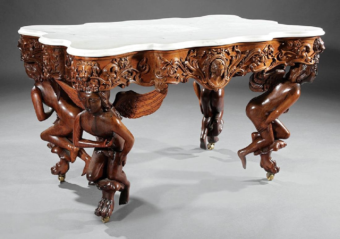 Carved Rosewood Center Table attr. Belter