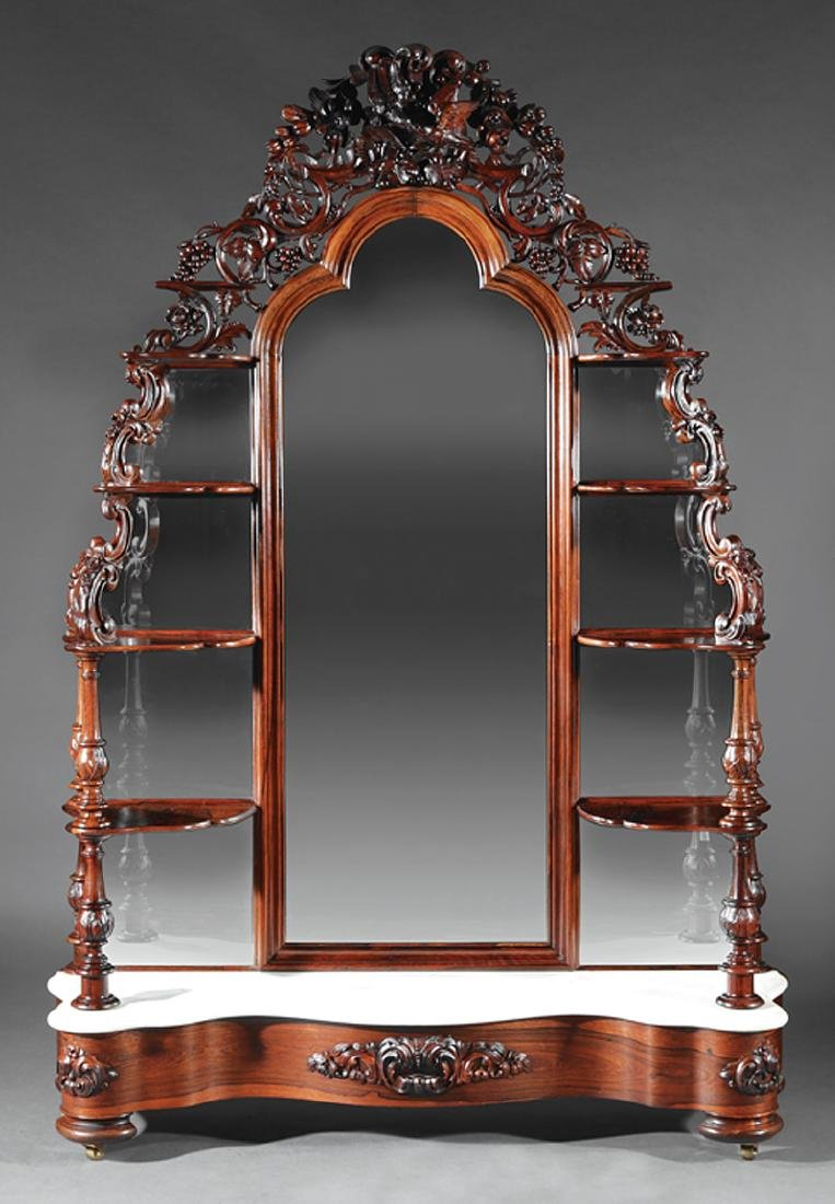 Carved, Laminated Rosewood Etagere attr. Belter