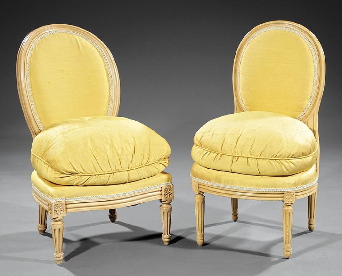Creme Peinte Slipper Chairs attr Maison Jansen