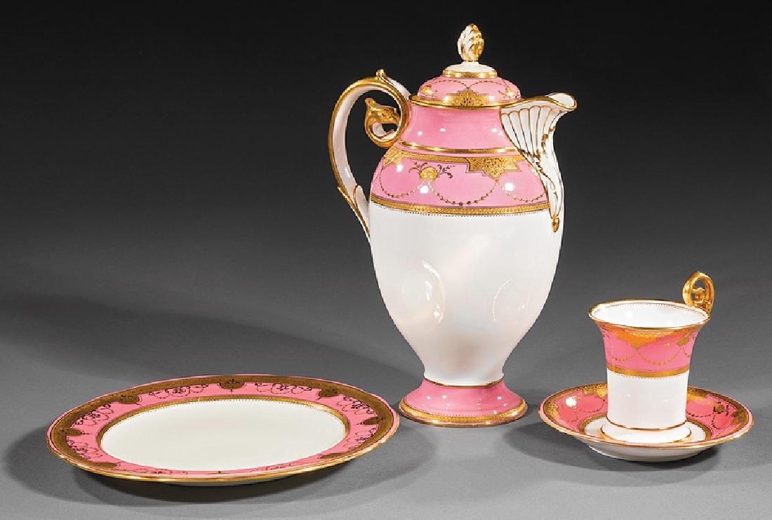 Mintons Pink and Gilt Porcelain Dessert Service