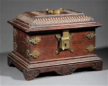 English Brass Mounted Carved Oak Dressing Box