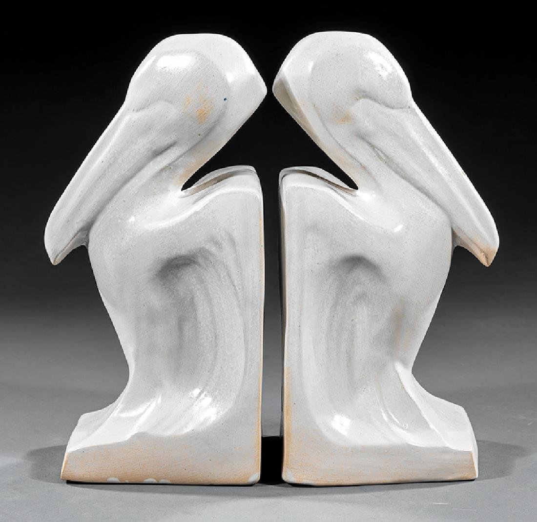 Pair Shearwater Pottery Pelican Bookends - 2