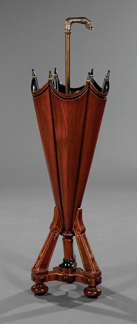 Carved Walnut and Parcel Ebonized Umbrella Stand