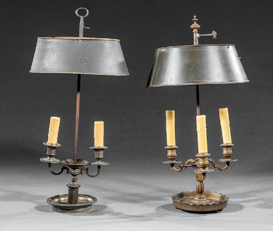 Two French Brass and Tole Bouillotte Lamps