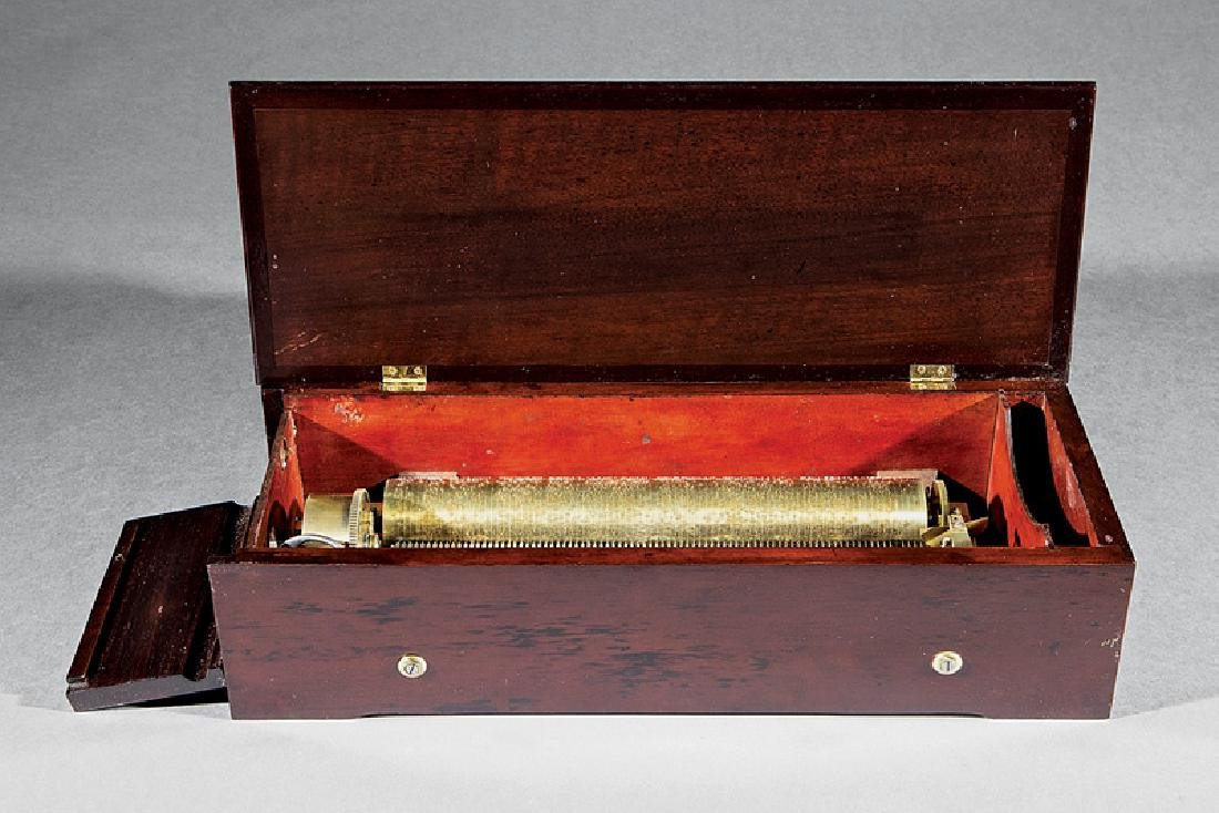 Swiss Mahogany Cylinder Music Box - 2