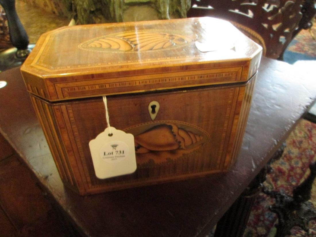 George III Inlaid Mahogany Tea Caddy - 2