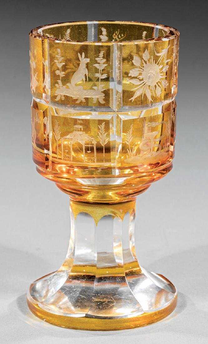 """Bohemian Amber Cut-to-Clear """"Spa"""" Goblet"""