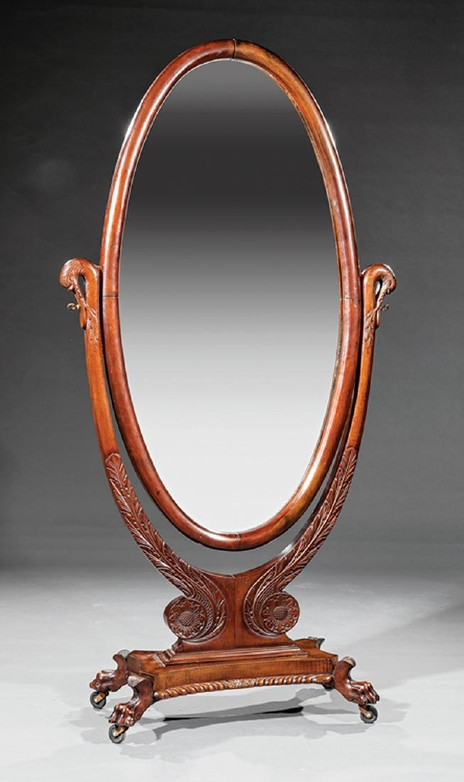 Late Classical Carved Mahogany Cheval Mirror