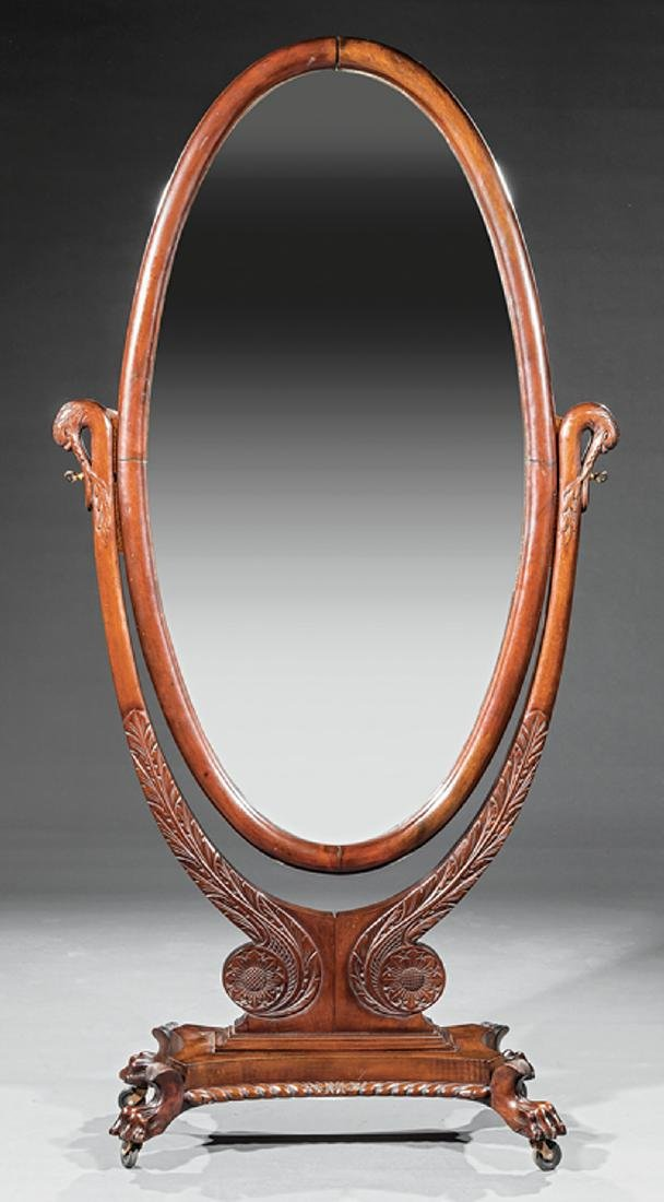 Late Classical Carved Mahogany Cheval Mirror - 2